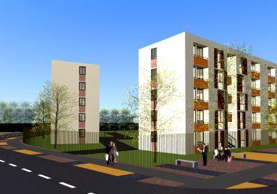 Jardines de san joaqu n i constructora oval for Edificios modernos de departamentos